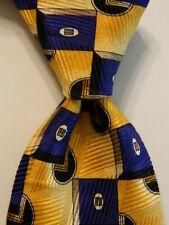 ROBERT TALBOTT Studio Mens 100% Silk Necktie USA Geometric Yellow/Blue/Brown GUC
