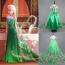 Girls Frozen Fever Inspired Green Maxi Split Elsa Dress Up Gown Princess Costume