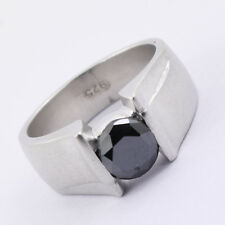 1.9 ct Certified Black Diamond Men's Ring in Sterling Silver-Gift for Father-AAA