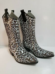 Daily Shoes Midnight Leopard Rubber Cowboy Rain Boots Gardening Women's Size 7