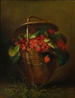 """oil painting handpainted on canvas """"a basket of strawberries in grass"""""""