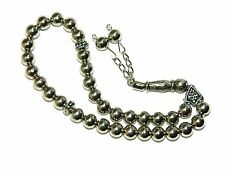 0213 -  Prayer Beads Worry Beads Tasbih Silver Finish Plastic Handmade
