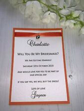 Will You Be My.... Bridesmaid Cards - Personalised - Heart Charm with Ribbon