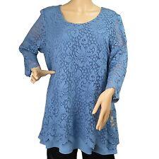 Women's Blue Floral Lace Long Sleeve Blouse Top JM Collection Size XL New