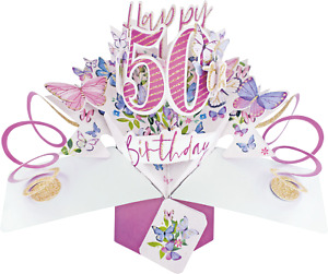 50th Birthday Card 3D Pop Up Card Female Sister Wife Friend Gift Card