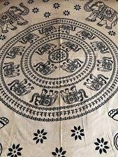 Indiano 100% Cotone Doppio Taglia Nero/Crema Circolare Stampa Elefante Copriletto