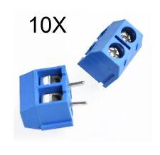10 MORSETTI 2 POLI connettori circuito stampato morsettiera 2 pin 5.0mm H=10 PCB