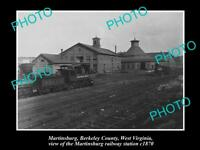 OLD LARGE HISTORIC PHOTO OF MARTINSBURG WEST VIRGINIA, THE RAILWAY STATION c1870