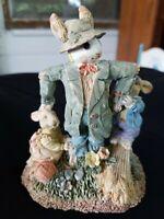 "Scarecrow Bunny Rabbit Resin Figurine  6"" Tall"