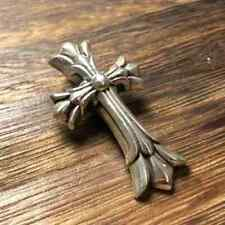 CHROME HEARTS STERLING Silver Double Cross Pendent Charm Size Medium