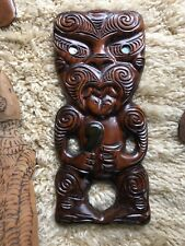 Vintage 1981 Signed Maori Large Handcarved Wooden Tiki Hanging Paua New Zealand