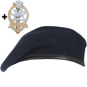 THE QUEEN'S REGIMENT NAVY BLUE BERET SET WITH OPTIONAL CAP BADGE 55-60