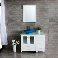 "36"" White Bathroom Vanity Cabinet Round Vessel Blue Sink Glass Countertop/Mirror"