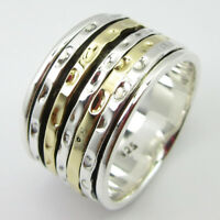 925 Sterling Silver Meditation Ring Wide Band Men's Women's SPINNER MULTI SIZE