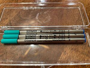 NEW Schmidt Rolling Silver Pen Blue Ink Refills Fine - Germany #5123