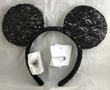 Disney Parks Mickey Mouse Ears Black Sequin Headband Hat - New