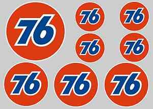 76 STICKER SET - SHEET OF 8 STICKERS - DECALS