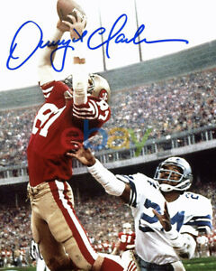 49ers Dwight Clark Autographed Signed 8x10 Vertical Photo Of 'The Catch' reprint