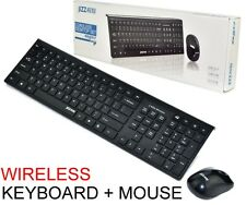 Black 2.4 GHz Cordless Wireless Keyboard and Optical Mouse USB Receiver Set