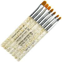 7PCS UV Gel Nail Art Brush Tips Builder Painting Brushes Pen Manicure Tool Set
