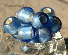 Large Hole,12mm,  Rondelle, Pony Beads, Sapphire w/Silver Lining, 4 Pcs, 0005