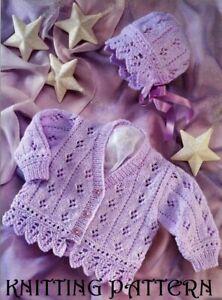 "Baby girl's lacy frilled cardigan & bonnet  KNITTING PATTERN 16"" - 26"" DK 1107"