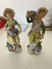 2 Vintage Homco Vineyard Grape Harvest Figurines 1258 Made in Japan