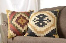 Set Of 2 Hand Woven Kilim Cushions 18X18 Indian Jute Home Decor vintage 8031