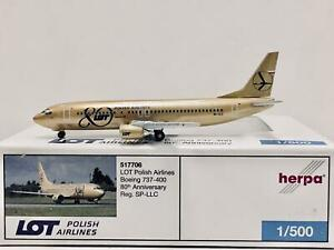 """Herpa Wings LOT Polish Airlines Boeing 737-400 """"80th Anni"""" 1:500 SP-LLC 517706"""