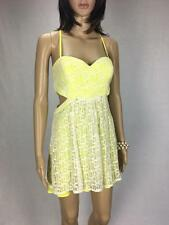** T BY BETTINA LIANO ** Size 8 Yellow Lace Womens Occasion  Party Dress -(A596)