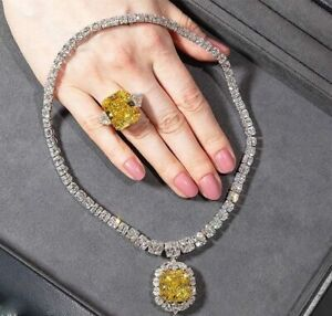 Fancy Large Yellow 60.00CT Citrine With 100.22CT Clear Fine CZ Fashion Necklace