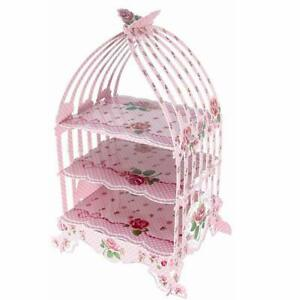 Birdcage Cupcake Cardboard Cake Stand Vintage Wedding Tea Party Display Holder