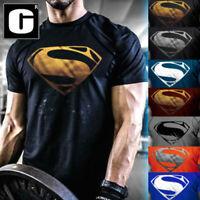 Men's New Superman Gym Singlets T-Shirt Bodybuilding Fitness Sports Clothes