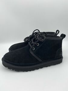 UGG NEUMEL BLACK SUEDE/ SHEEPWOOL ANKLE BOOTS, WOMEN SIZE 7 US