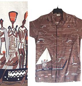 Vintage 1950's Shaheen's Cotton Hawaiian Shirt Koa Warrior made in USA M RARE
