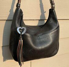 Brighton Barbados Black Pebbled Leather Shoulder Handbag Hobo Purse Medium