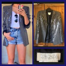 ESCADA : Vintage Designer Sequin Polka Dot Silk Blazer Jacket : UK 8-10 / EUR 36