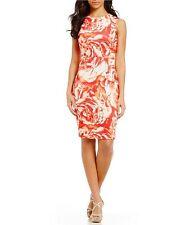CALVIN KLEIN NWT, FLORAL-PRINT SCUBA SHEATH DRESS IN WATERMELON MULTI 8 $139.00