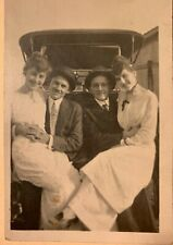 RPPC of 2 couples in carriage, Derbies,suits, white dresses