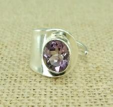 Cut Amethyst 925 Silver Wide Band Ring Size P Q R Open Size Indian Jewellery