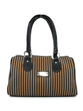 COZY CANVAS BOWLER BAG STRIPED BLACK LEATHER TRIM