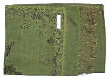 Double Layer Green / Tan Pashmina & Silk Shawl Scarf
