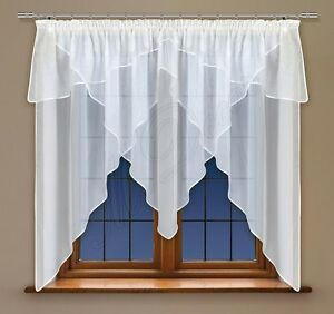 """Curtain with trimming and made of white voile with curtain tape NEW 59"""" x 118"""""""