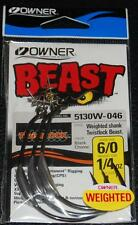 OWNER 5130W-046 WEIGHTED BEAST w/ TWISTLOCK Hook Size 6/0 - 1/4 oz Weight 3 Pack