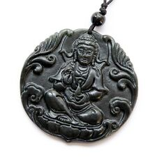 Kwan Yin Bodhisattva Amulet Tibet Buddhist Black Green Jade Pendant