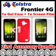 Telstra Frontier 4G Telstra Red Soft Jelly TPU Gel Case Cover Screen Protector