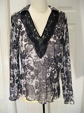 CYNTHIA STEFFE  WOMANS BLACK AND WHITE EMBROIDERED BLOUSE TUNIC SIZE M