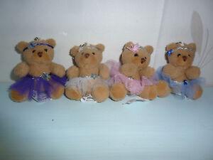Small TEDDY BEAR wearing a BALLET DANCE TUTU on KEYRING