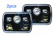 """7x6"""" Cree LED Projector Headlights Sealed Beam Headlamps DOT Approved Black x2"""