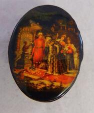 """Mini Russian Oval Trinket Pill Box Russian A. Pushkin """"The Tale of Tsar Saltan"""""""